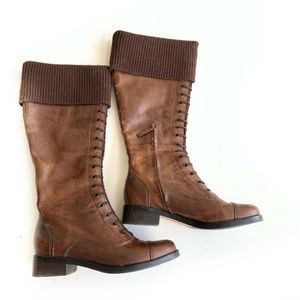 Cole Haan Boots Womens Tall Brown Leather Distress
